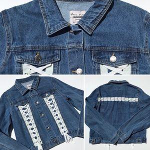 Women's laceup denim jacket